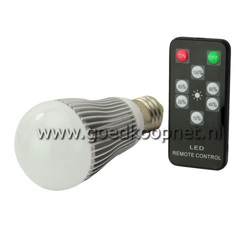 E27 6 Watt LED lamp met afstandsbediening