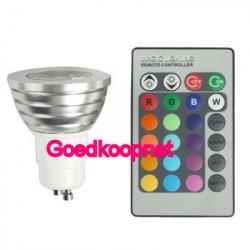 GU10 LED Lamp 3 Watt 16 kleuren met afstandbediening