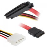 15 + 7 Pin Serial ATA Male to Female Data Power Cable for SATA HDD, Lengte: 30cm