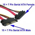 15 + 7 Pin Serial ATA Male to Female Extensie kabel, Lengte: 50cm