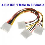4 Pin IDE 1 Male to 3 Female Splitter Kabel, Lengte: 20cm