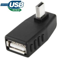 Mini USB Male to USB 2.0 AF Adapter 90 graden